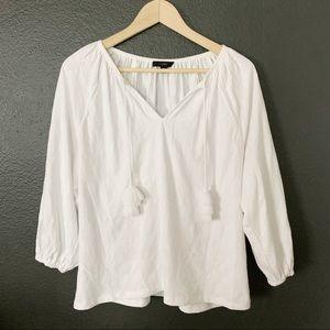 J crew embroidered soft cotton peasant tassel top